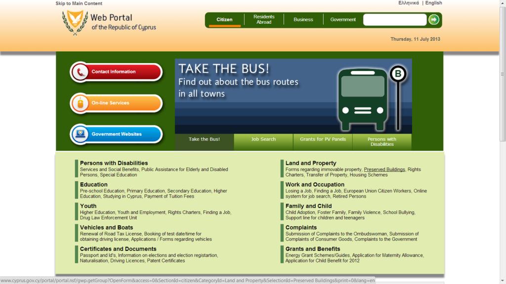 Página Web del Gobierno de Chipre