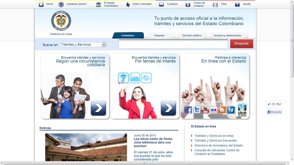 Página WEb del Estado de Colombia