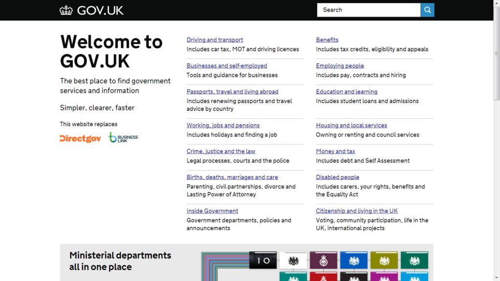 Página WEb del Gobierno de UK