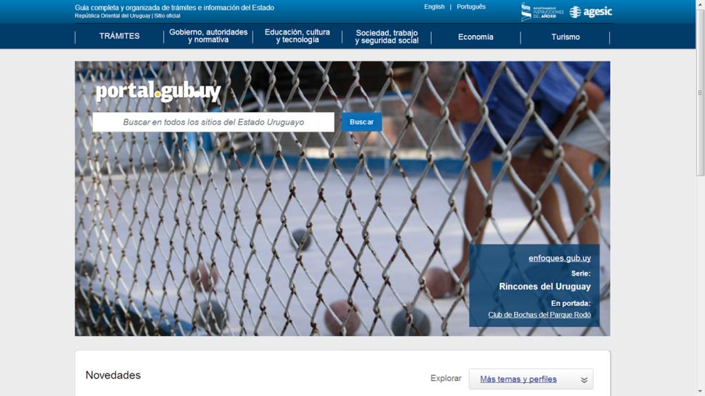 Página Web del Gobierno de Uruguay